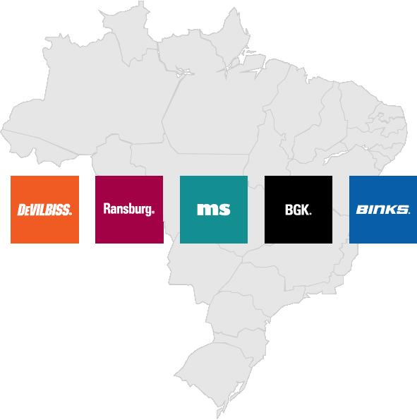 Distribuidor Master para Brasil das marcas DeVilbiss, Ransburg, MS, BGK e Binks